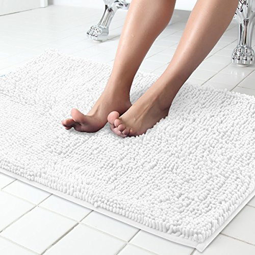 ITSOFT Non Slip Shaggy Chenille Soft Microfibers Bath Mat for Bathroom Rug Water Absorbent Carpet, Machine Washable, 34 x 21 Inches White