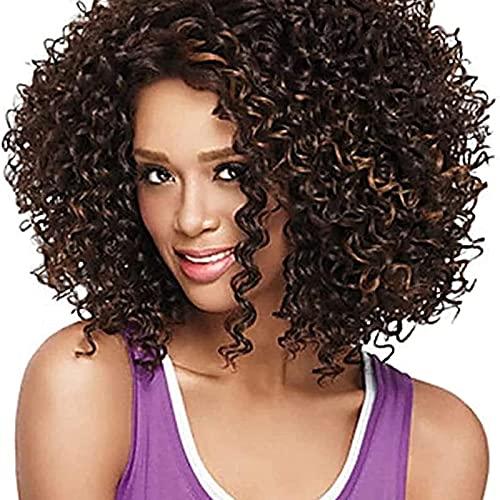 HTDYLHH Belles perruques, Perruque de remplacement des cheveux, Petits cheveux bouclés Africains Perruques d'Europe et d'Amérique Long Brown Brown Brown Filet High Température Silk Silk Hood Hood Capu