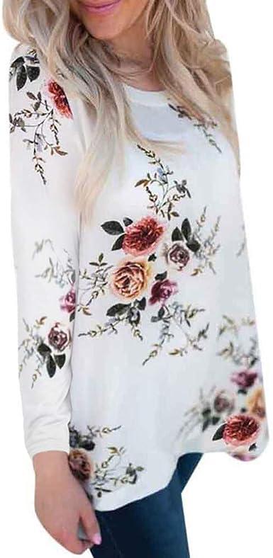 Camiseta de Flores de Gasa para Mujer Camisa Casual Cuello ...