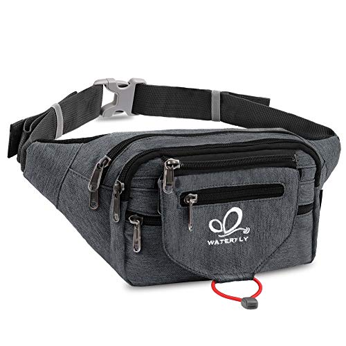 WATERFLY Hiking Hip Pack Fanny Pack for Men Women Large Waist Pack with Multi Pockets Waist Pouch Bag Money Belt for Traveling Nursing Running Camping Workout Cycling (Dark Grey)