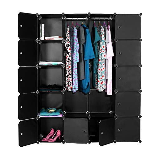Tragbarer Kleiderschrank zum Aufhängen von Kleidung, Würfel-Aufbewahrungsorganisator, DIY-Kleiderschrank Kunststoff-Kleiderschrank, 175 x 141 x 35 cm (Schwarz)