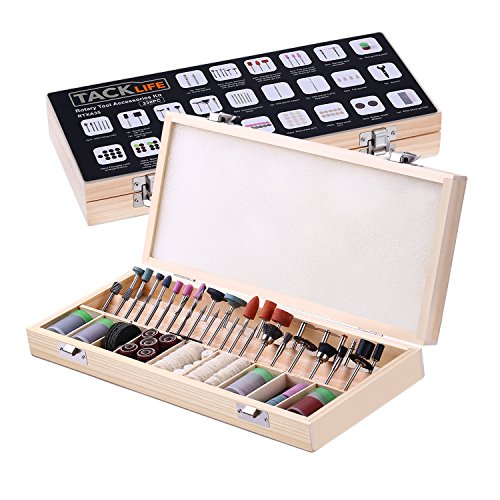 TACKLIFE RTXA35 238-Piece Rotary Tool Accessories Kit in a Wooden Case 1/8-inch Shanks for Most Rotary Tools