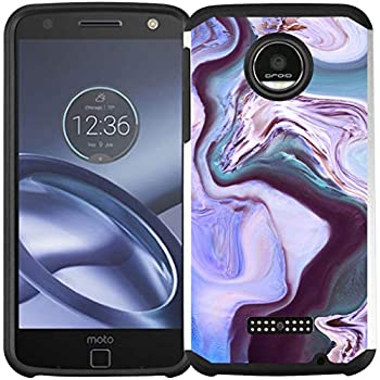 Cass Creations Case for Motorola Moto Z Force Droid Dual Layer Shock Proof Bumper Protective Phone Cover - Purple Marble