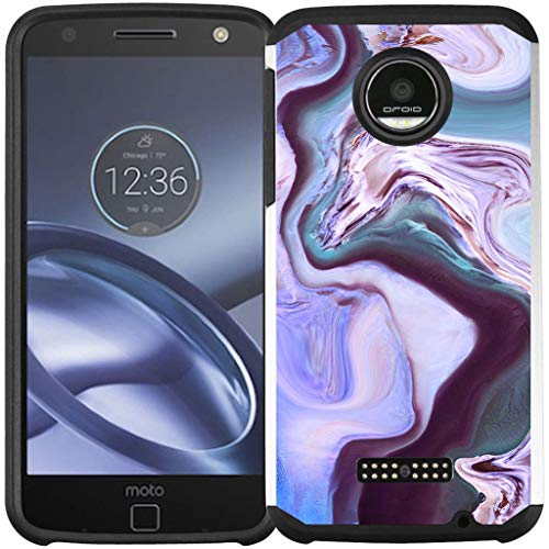 Motorola Moto Z Force Droid Case, Dual Layer Shock Proof Bumper Protective Phone Cover - Purple Marble