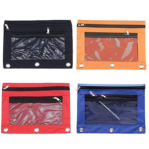4 PCS Trousse à Crayons 3 Anneaux, Étui à Crayons pour Fenêtre en Filet, Étui à Crayons en Filet Transparent, pour Étudiants, Papeterie, Crayons, Marqueurs et Autres Fournitures Scolaires