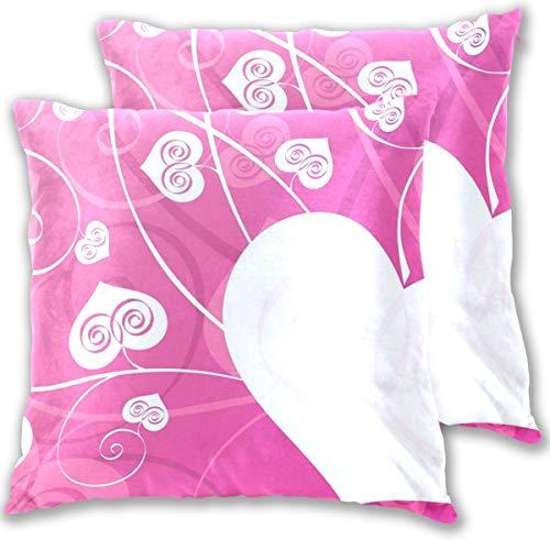 SAIAOS Fundas de Cojín Paquete de 2 Fondo de Patrones de corazón,Decorativa Impreso Caso de Almohada Cuadrado Fundas de Almohada para Sofá Coche Cama 50x50cm