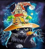 5D ダイヤモンドアート ダイヤモンド塗装モザイクアート ハロウィーンのかわいい黒猫 DIY 手芸キット ダイヤモンドビーズ絵画 キット 人気 手作り芸術品装飾 大人、子供、初心者向け 操作簡単 ビーズアート