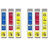 Go Inks E-715CMY - Juego de 3 Cartuchos de Tinta compatibles para sustituir T0712, T0713, T0714 para impresoras Epson Stylus, Cian, Magenta y Juane (6 Unidades)