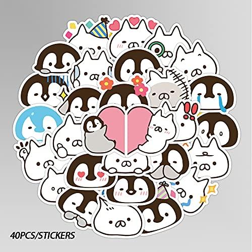 ZNMSB 40 Pegatinas de Cuenta de Mano de pingüino y Gato de Dibujos Animados Bonitos, papelería para niños, Taza de Agua, Casco, Cubierta de Inodoro, decoración, Pegatinas de Emoji