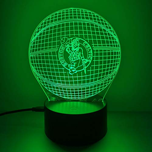 NewFan 3D LED Night Light for Celtics Basketball,BOS Flat Acrylic Illusion Lighting Lamp with 7 Colors and Touch Sensor, Celtics Night Light Gift for Men or Women