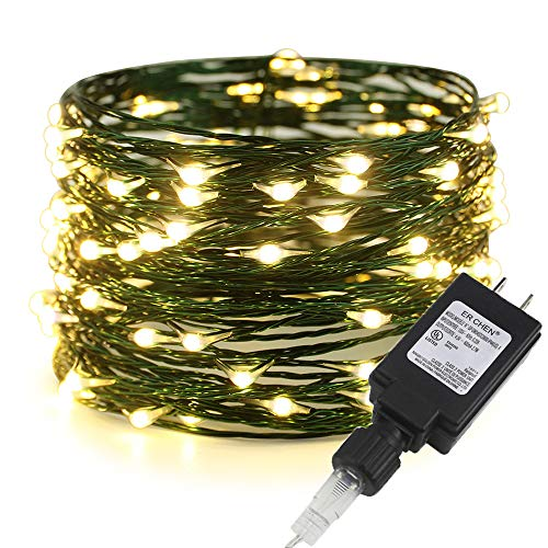 ER CHEN Fairy Lights Plug in, 33ft/10m 100 LED Green Copper Wire String Lights Waterproof Outdoor/Indoor Decorative Lights for Bedroom, Patio, Garden, Party, Christmas Tree (Warm White)