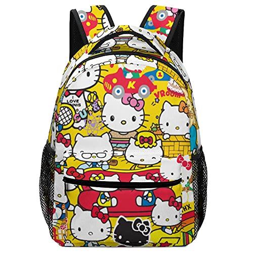 Hello Cartoon Kitty - Bolsas de escuela para niños, mochilas de alta capacidad para estudiantes de primaria y secundaria, ultraligeras y con múltiples compartimentos
