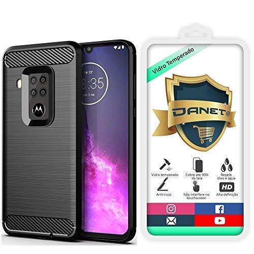 Kit Capa Capinha Anti Impacto Para Motorola Moto One Zoom Tela 6.4Case Com Desenho Fibra De Carbono E Película De Vidro Temperado - Danet (Preto)