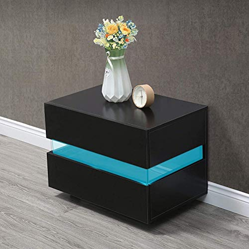 Queiting Black LED Bedside Table Bedside Table with Drawer LED Light Assembly Locker Bedroom Large Capacity Bedside Table Small Living Room Side Drawer Bedside Table