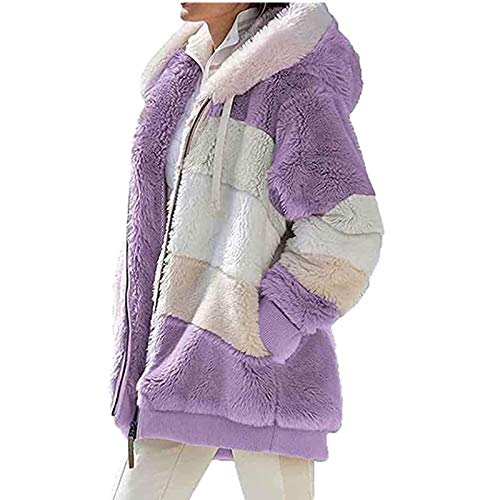 Sgmy Contrasting Lamb Wool Padded Coat Blue Women's Winter Fashion Casual Warm Zip Jacket Open Front Cardigan Jacket Winter Loose Hooded Jacket Plush Coat with Zipper (Purple, 2XL)