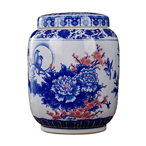 KUANDARMX Mehlbehälter, Keramik, Reiseimer, Küche, Aufbewahrungsbehälter, Getreidebehälter, Snack-Aufbewahrungsdosen, blau, 30 x 30 x 40 cm