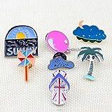 Broches Y Alfileres para Mujer,(7Pc) Cartoon Globo Windmill Zapatillas Árbol Corsage Personalidad Nubes Oscuras Collar Pin para Las Mujeres La Moda Anti-Luz Ropa Unisex Broche Insignia Pins