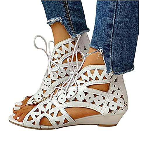 CHILD FENCE Gladiador Roma Zapatos,Zapato Casuales para Mujer Sandalias con Tiras en la Espalda Pendiente Antideslizantes Playa Sandalias Cuña con Aberturas,Blanco,37