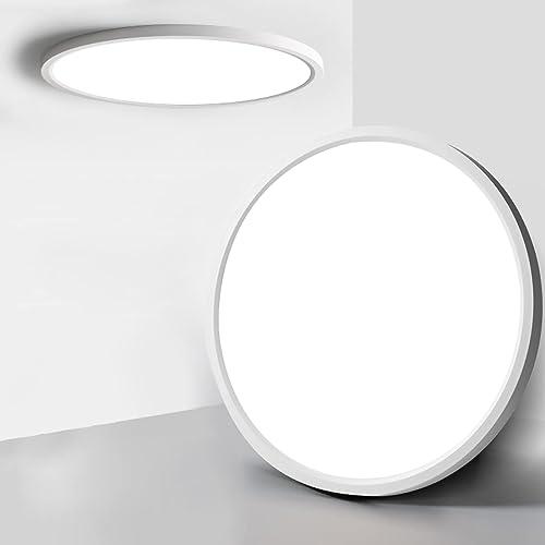 Plafonnier LED 24W,Plafonnier LED Plat, Luminaire Plafonnier 3200lm Blanc Naturel Étanche, 4000K LED Plafonnier Rond ...