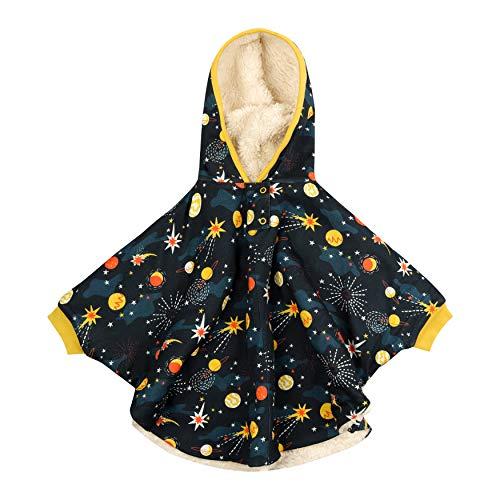 Sherpa Fleece-gefütterter Poncho für Kinder, weiche Bio-Baumwolle, Unisex, Solarraum für Mädchen und Jungen Gr. 2 Jahre, mehrfarbig