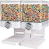 YXZN Compacto Comida Seca Dispensador con Soporte, Cocina Cereal Almacenamiento Envase Cuadrado Botes De Plástico, Doble Control