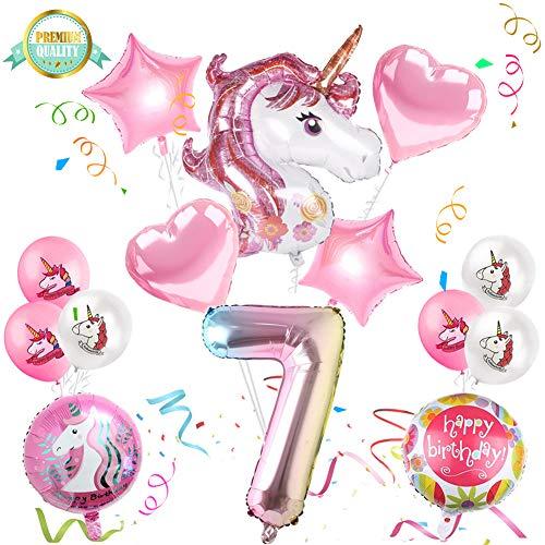 Sunshine smile Einhorn Geburtstagsdeko, Einhorn Party Mädchen Geburtstagsdeko Luftballons,Einhorn Ballon,Folienballon,Party Kindergeburtstag Happy Birthday Dekoration Luftballon 7. Geburtstag