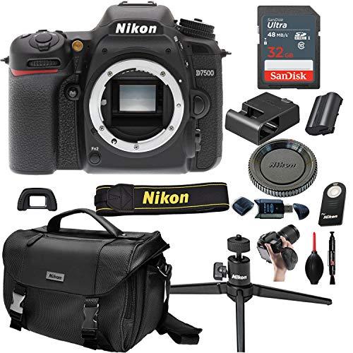 Nikon D7500 DSLR Camera with Body (No Lens) + 32GB Card, Tripod,Case and More(13pc Bundle)