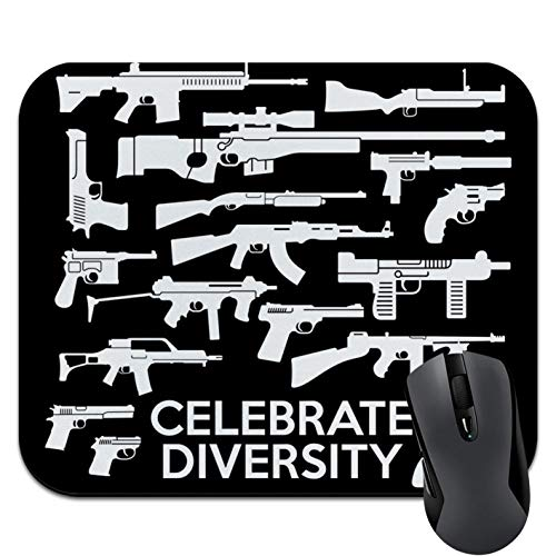 Guns Weapons Rifles Celebrate Diversity Second 2nd Amendment Non-Slip Rubber Mouse Pad Mousepad, 9.5 X 7.9 Inch (240mmX200mmX3mm)