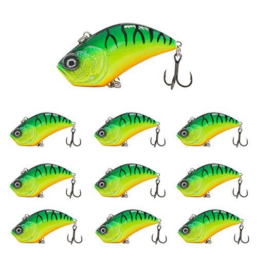 UNCTAD 10 Piezas 5,5 cm de Largo Señuelos Pesca biónicos Luminosos - Fácil de Cargar - Ojo de pez biónico 3D - Material ABS Señuelo de Pesca - para Boca, lubina, lubina, pez Negro, etcA