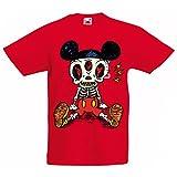 lepni.me T-Shirt pour Enfants Squelette d'une Souris (12-13 Years Rouge Multicolore)