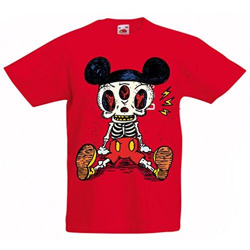 lepni.me Camisas para niños Esqueleto de un ratón (9-11 Years Rojo Multicolor)