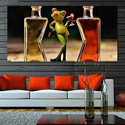 N / A Rahmenlose Malerei Leinwand Malerei Tier Spielzeug Frosch Weinglas menschliches Spielzeug Poster Druck Malerei Wohnzimmer Schlafzimmer Dekoration MalereiZGQ5916 50X80cm