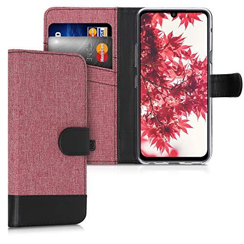 kwmobile Wallet Hülle kompatibel mit LG G8X ThinQ - Hülle mit Ständer - Handyhülle Kartenfächer Altrosa Schwarz