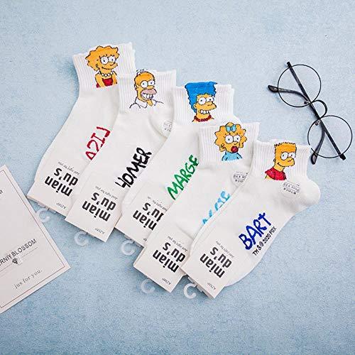 WEIZI 20 Sommer-Stil Cartoon Simpson Frauen Gekämmte Baumwolle Versteckte Socken Anti-Rutsch-Schweiß Absorbierende Frauen Bootssocken Im Japanischen Stil, 5 Farben Gemischt, Einheitsgröße