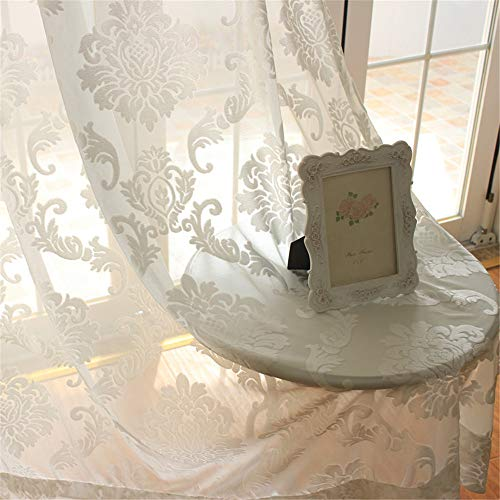 WPKIRA Rod Pocket Top European Style Thicken Flocking Fabric Privacy Lace Sheer Curtain Panels Half-Shading Screens Window Drapes Room Divider for Living Room 1 Panel , White/Cream W52 x L84 Inch
