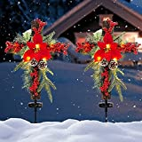 SOWSUN Solar Christmas Decorations Outdoor LED Lights, Xmas Waterproof Cross Stake, Cemetery Grave Decorations,Faux Pine Cones and Foliage Ornament Stakes for Garden Lawn Yard Cemetery, Set of 2