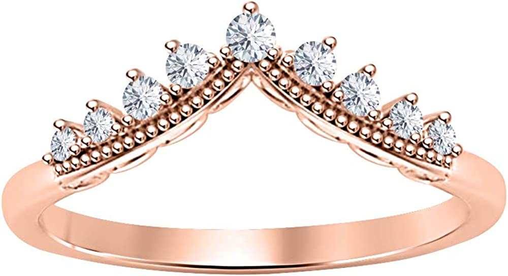RUDRAFASHION Super sale Round Cut White Diamond Ban Shape Curved V Milgrain sold out