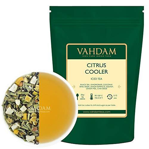 VAHDAM, Té Helado Citrus Cooler | 40 porciones, 8 cuartos | Ingredientes 100% naturales | Sabor delicioso de té negro y limón cítricos | Té helado de limón | 100gr (Set de 2) De la India
