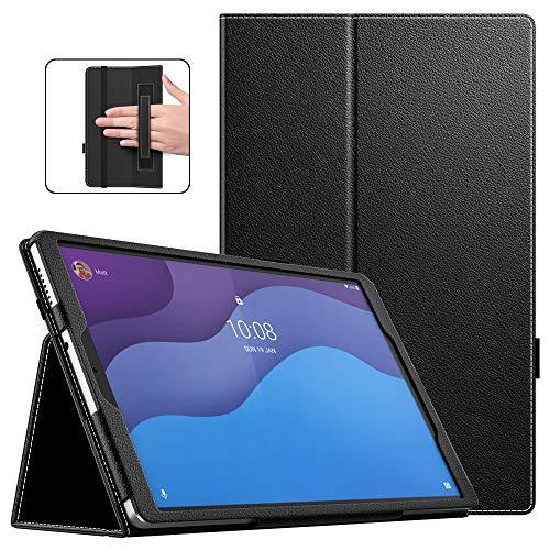 Dadanism Funda Compatible con Lenovo Smart Tab M10 HD(TB-X306F), Suave Protector de PU Cuero con Cierre Magnético Case Cover con Soporte y Correa de Mano - Negro