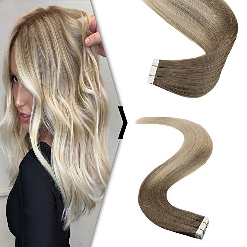 YoungSee 100% Echt Tape in Extensions 45 cm Balayage Dunkelste Blond zu Platinblond Echthaar Tape Extensions Remy Tape on Ombre Hair Extensions 20 Stuck 50g Pro Packung