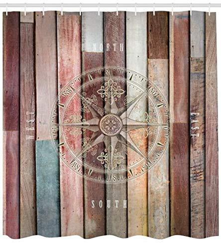 ABAKUHAUS Duschvorhang, Marine See Life Yacht Thema Farbigen Holz Kulisse mit Ruder & Kompass Bild Digital Druck, Blickdicht aus Stoff inkl. 12 Ringe für das Badezimmer Waschbar, 175 X 200 cm