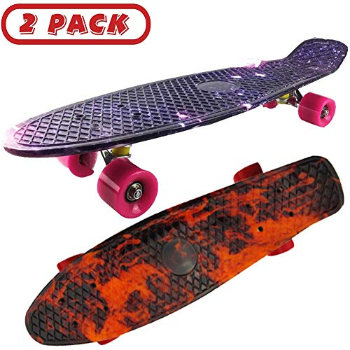 FGKING Maple Skateboard, 27 inch Caster Board Up Portable Lightweight Double Kick Concave and Anti Slip Skateboards for Beginners,2