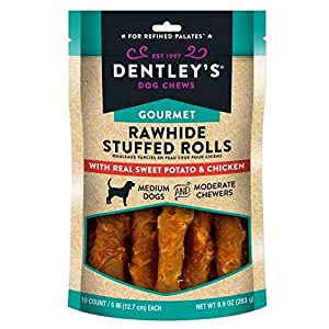 DENTLEY'S Gourmet Rawhide Stuffed Rolls Dog Treats – Sweet Potato & Chicken 10 Rolls Per Pack