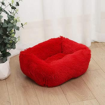 Long-haired Kennel for deep Sleep Dog Kennel cat Kennel Warm Dog mat Square Kennel Autumn and Winter Kennel cat Mattress Medium and Small Dogs-Christmas red_433320