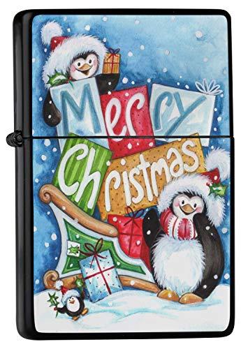 Feuerzeug Benzinfeuerzeug Sturmfeuerzeug Metallfeuerzeug in Farbe Schwarz Feuerzeug Schwarze Frohe Weihnachten Pinguin Schlitten