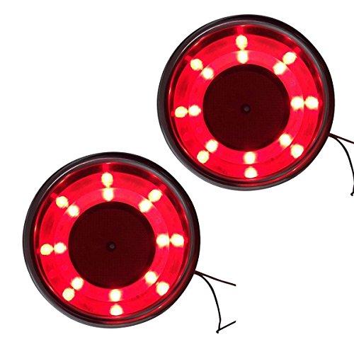 NUZAMAS Lot de 2 porte-gobelets en acier inoxydable avec lumière LED rouge pour bateau, camping-car, caravane
