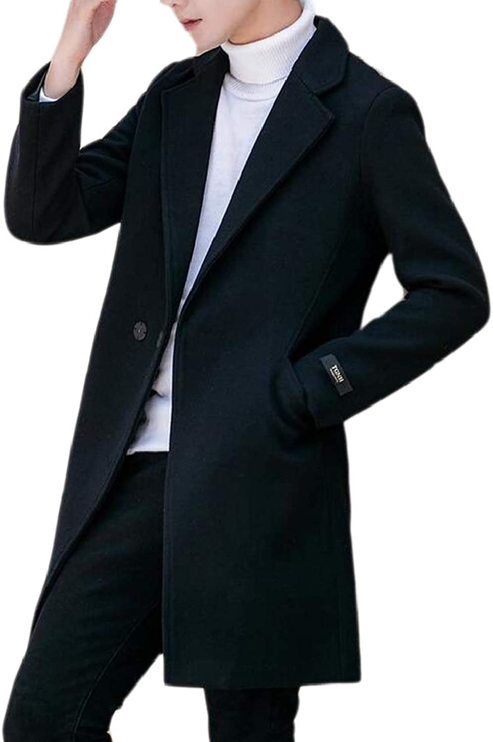 Men's Long Jacket Double-Breasted Autumn Woolen Lapel Trench