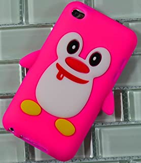 Bastex BasTexWireless Silicone Animal Case for Apple iPod Touch 4th Generation - Baby Pink 3D Penguin Cover