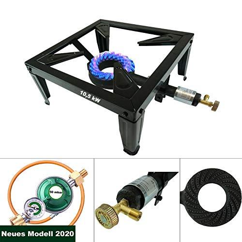 CAGO 4 Fuss Gas Hockerkocher 10,5 kW Turbo Gasbrenner mit Gasregler mit Manometer 50 mbar Gasschlauch Räucherofen
