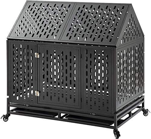petgroomingtable Heavy Duty Dog Crate Cage Kennel Playpen Large Strong Metal for Large Dogs Cats with Two Prevent Escape Lock and Four Lockable Wheels (45'' roof)